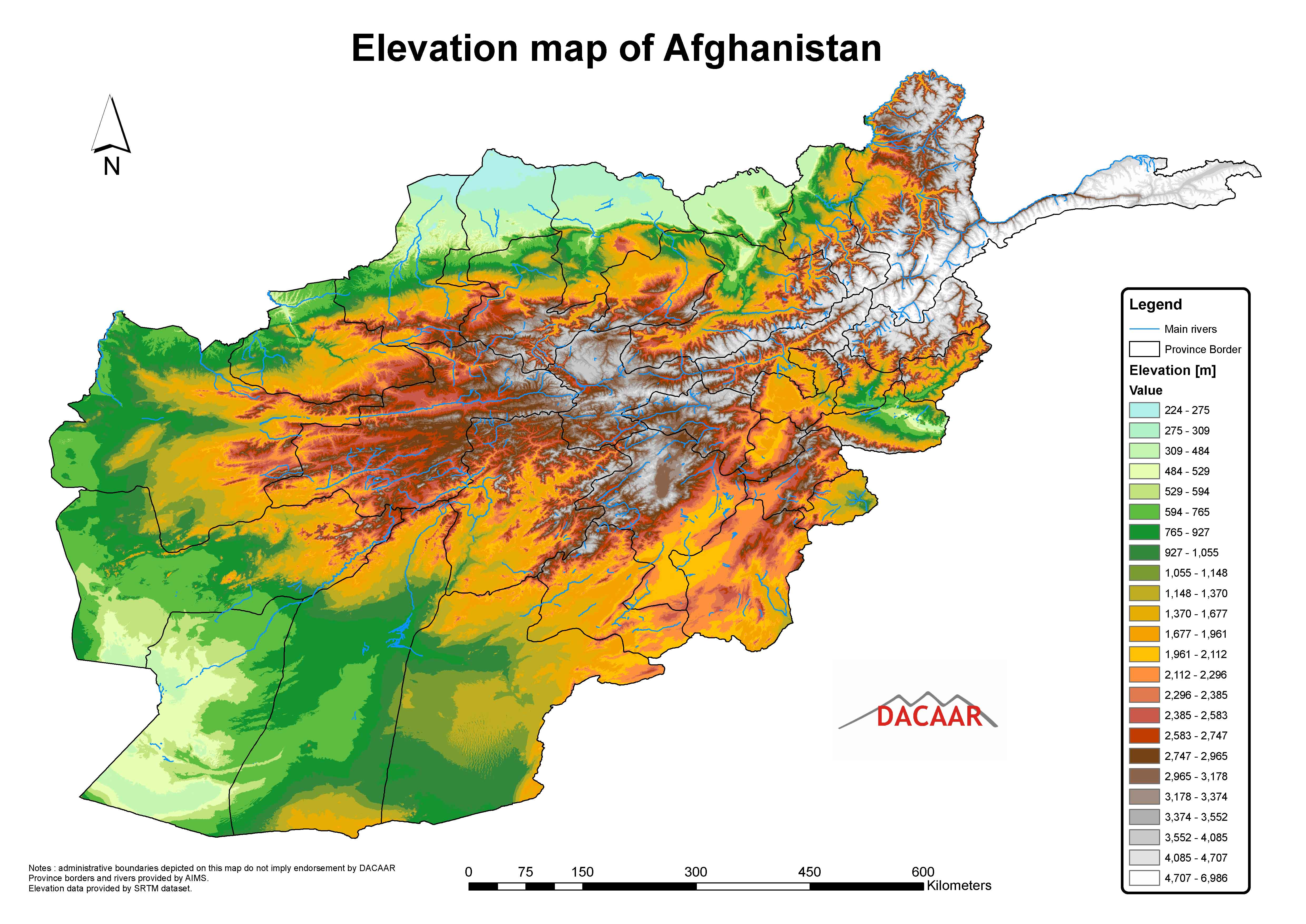 Afghanistan-Elevation-Map | Weltatlas
