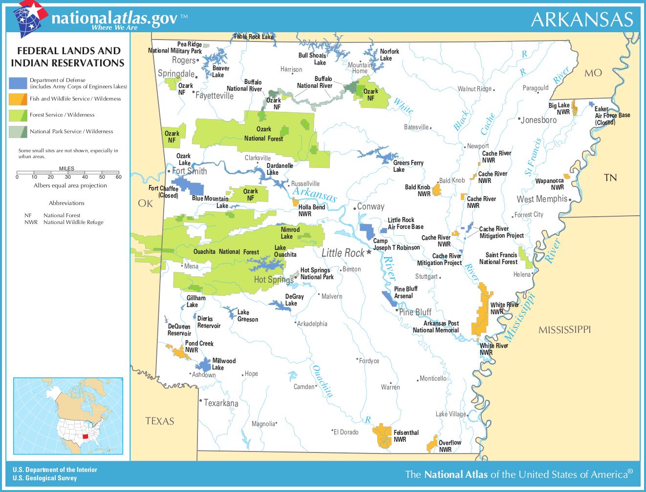 Arkansas-federal-lands-indian-reservations-map | Weltatlas