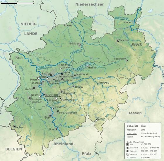 Nordrhein Westfalen Karte.Physische Landkarte Von Nordrhein Westfalen Weltatlas