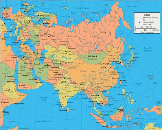 Landkarte Asien.Politische Landkarte Von Asien Weltatlas