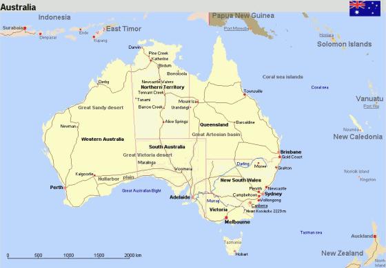Karte Australien Englisch.Ubersichtskarte Von Australien Englisch Weltatlas