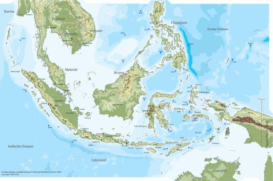 Indonesien Karte Physisch.Physische Landkarte Von Indonesien Weltatlas