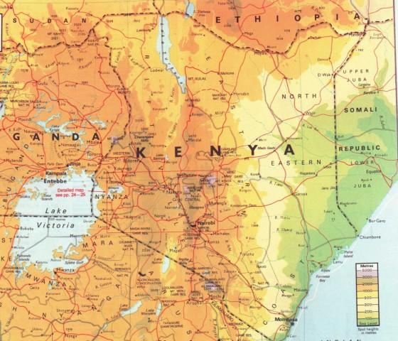 Kenia Karte.Physische Karte Von Kenia Weltatlas
