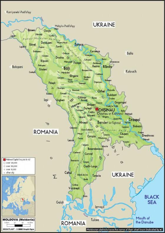 Physische Landkarte Von Moldawien Weltatlas