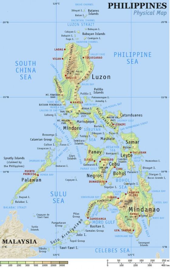 Karte Philippinen.Physische Landkarte Von Den Philippinen Weltatlas