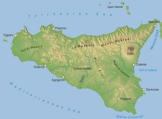 Physische Landkarte Von Sizilien Weltatlas