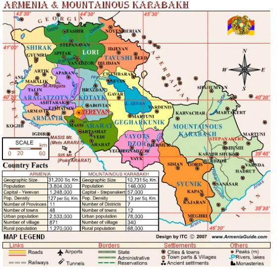 Politische Landkarte Von Armenien Mit Arzach Aserbaidschan Armenisch Weltatlas