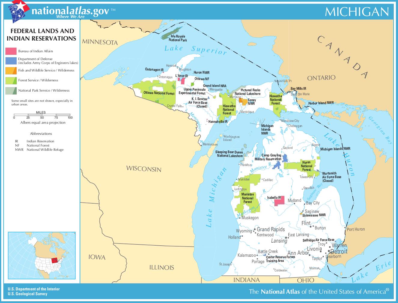 Michigan-federal-lands-indian-reservations-map | Weltatlas