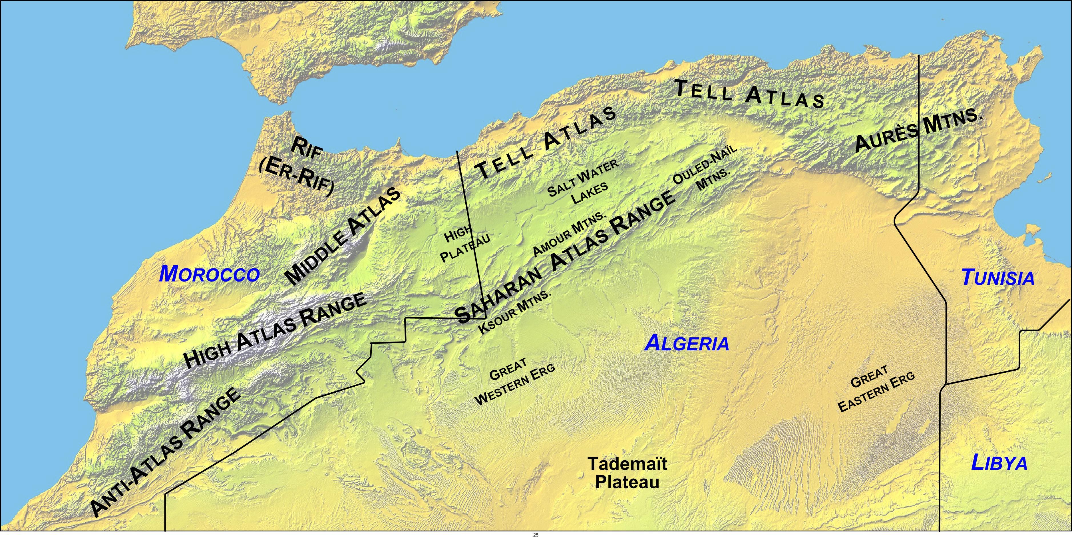North-Africa-Mountain-Ranges-Map | Weltatlas