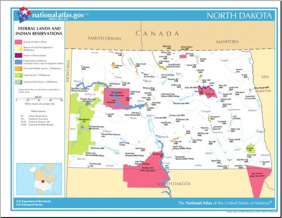 Übersichtskarte der Indianer Reservate in North Dakota (USA) | Weltatlas