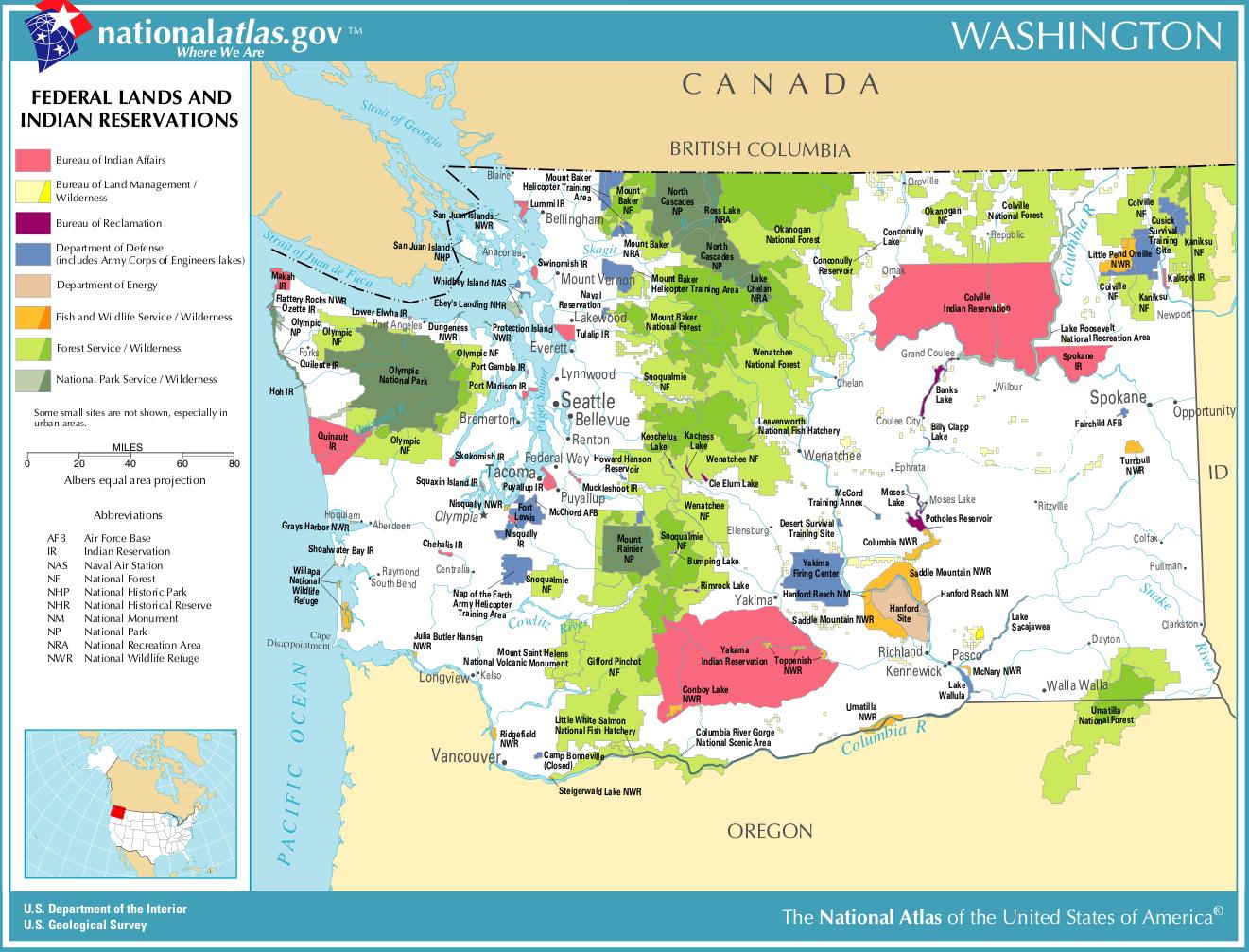 Washington-federal-lands-indian-reservations-map | Weltatlas