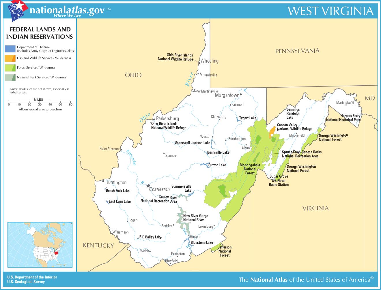 West-Virginia-federal-lands-indian-reservations-map | Weltatlas