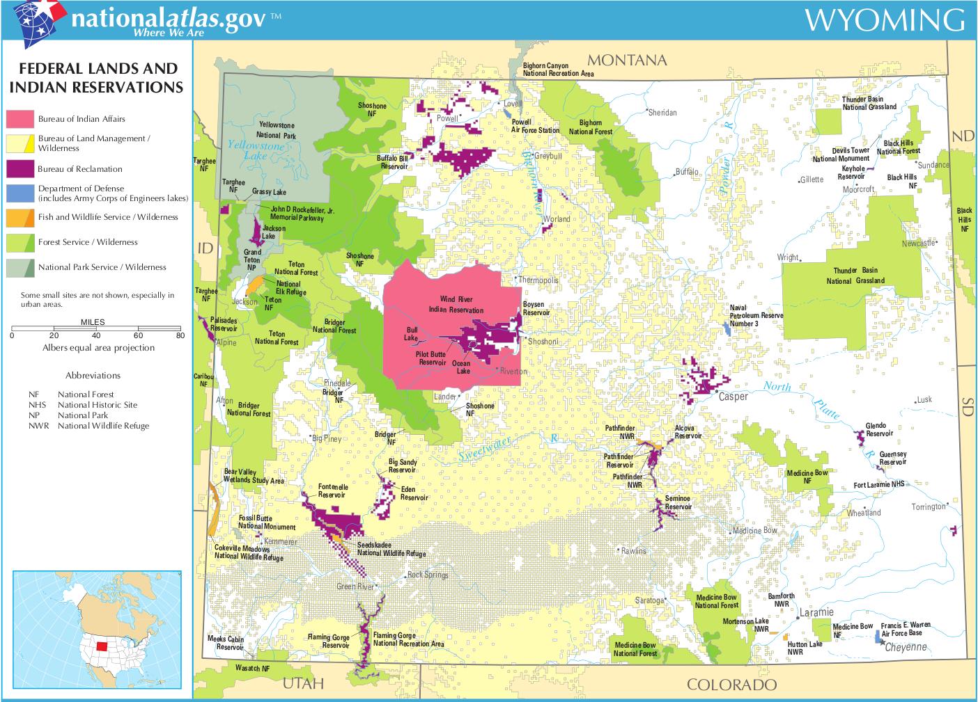 Wyoming-federal-lands-indian-reservations-map | Weltatlas