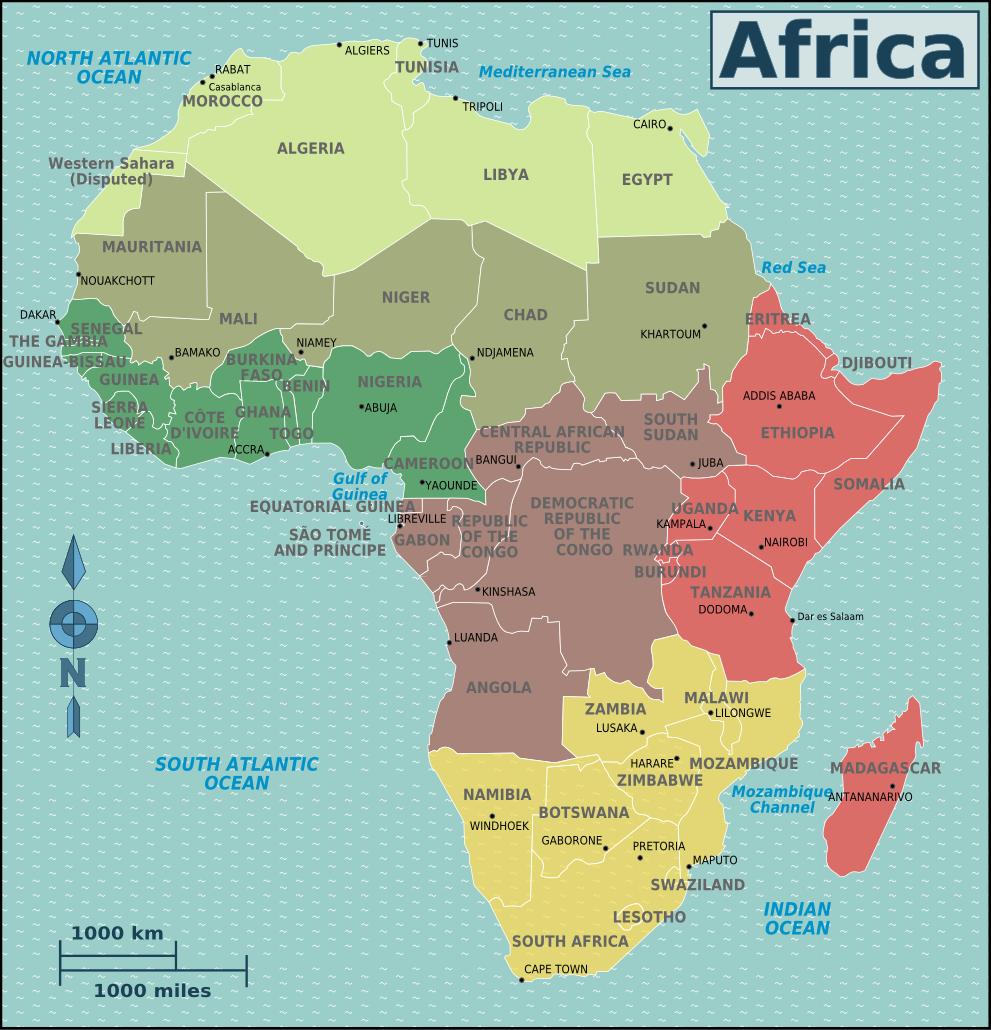 Karte Afrika.Politische Landkarte Der Regionen In Afrika Englisch