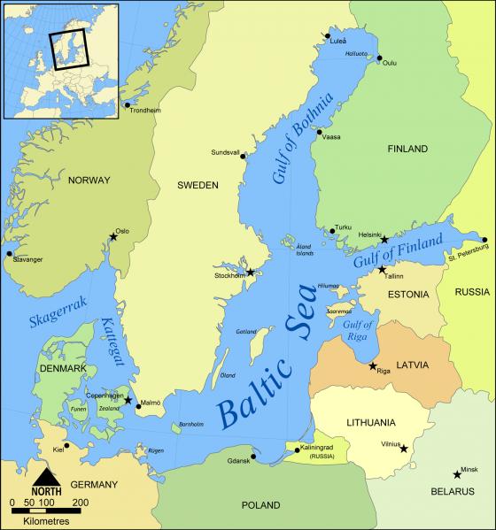 ostsee landkarte Politische Landkarte der Ostsee   Weltatlas ostsee landkarte
