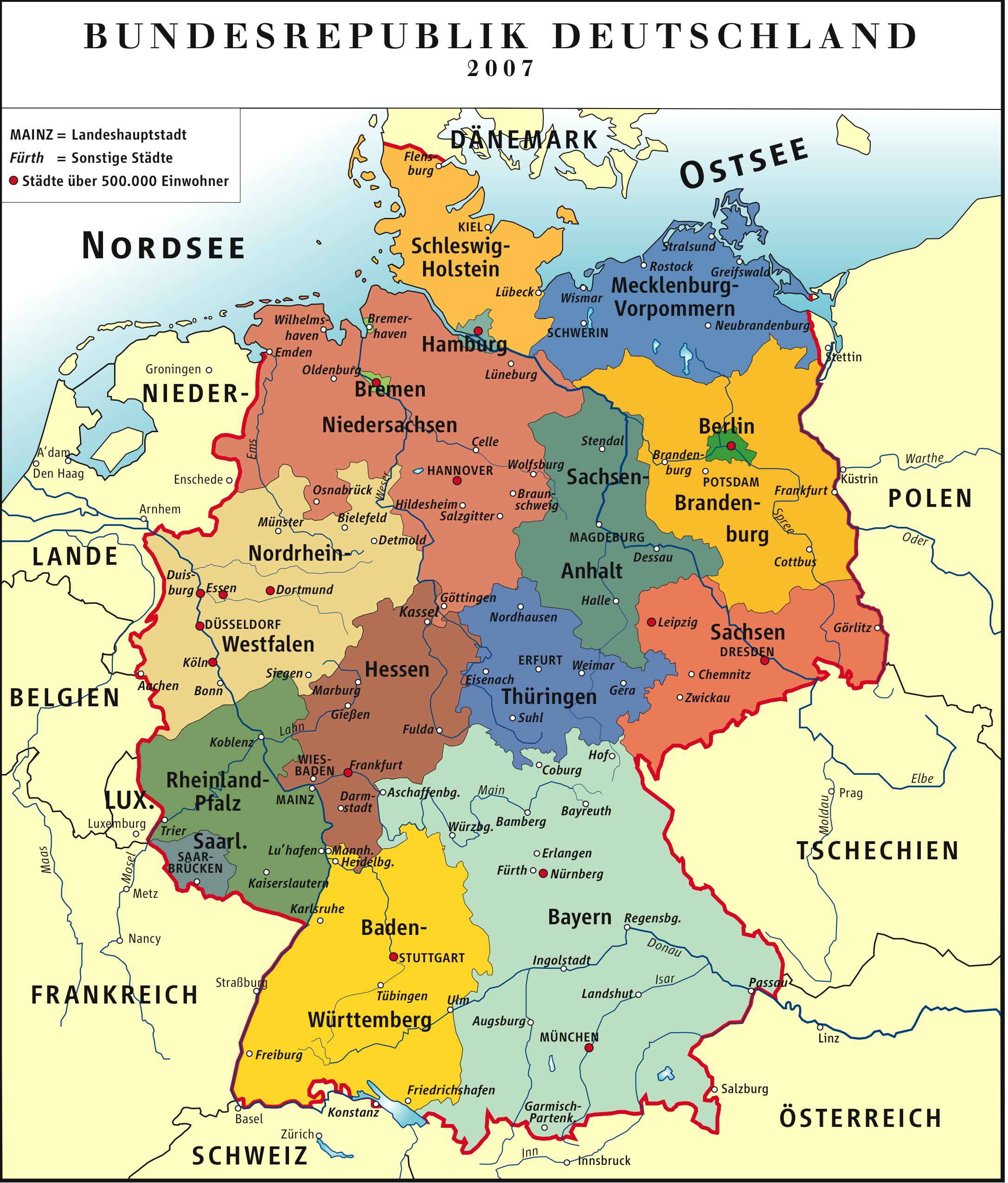 eine landkarte von deutschland deutschland_politisch | Weltatlas