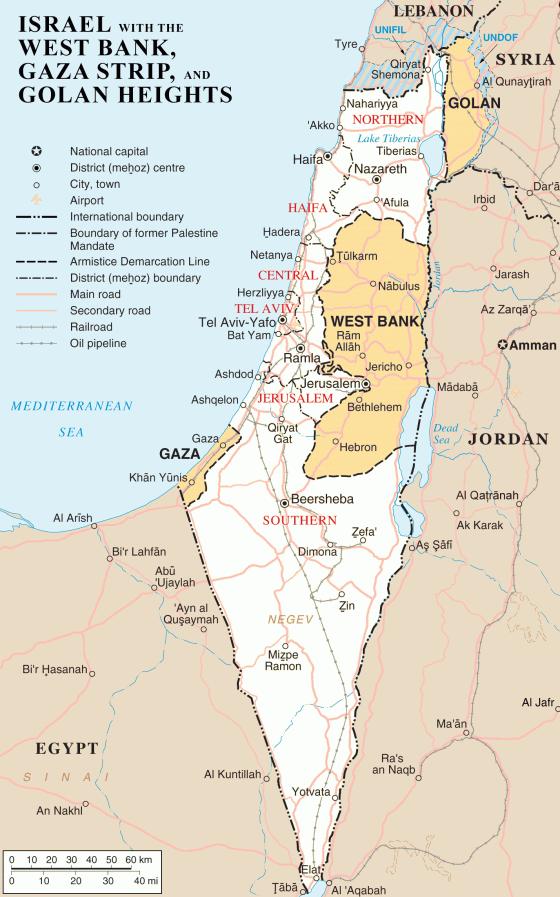 Politische Landkarte von Israel, Westjordanland