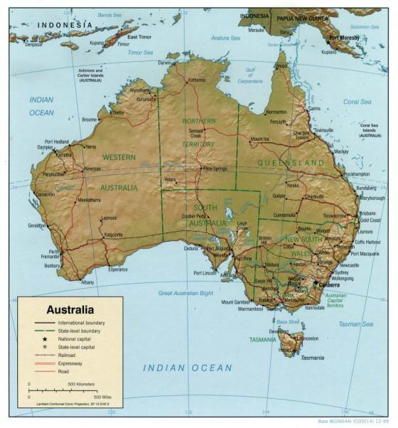 Karte Australien Englisch.Physische Landkarte Von Australien Englisch 1999 Weltatlas