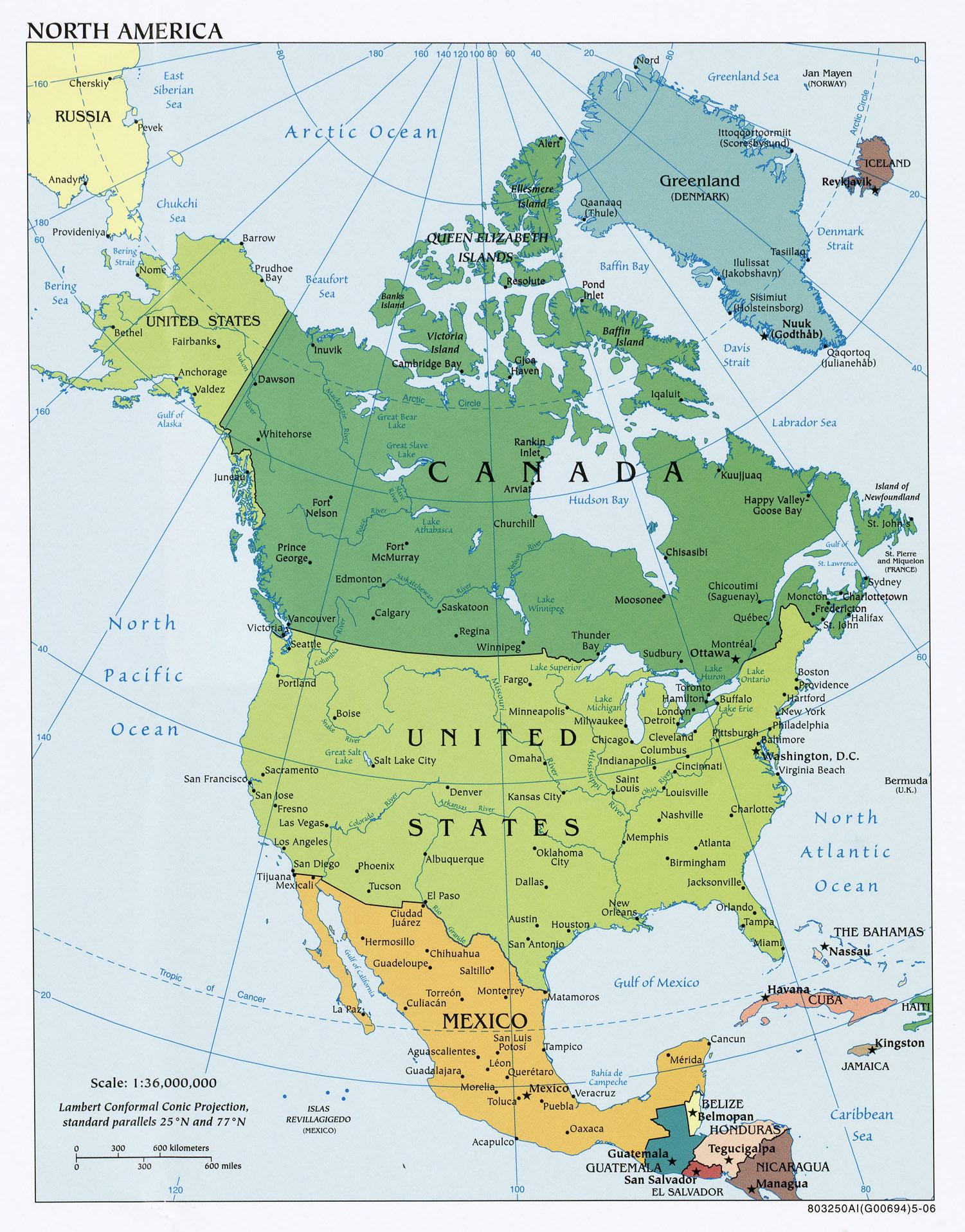nordamerika-politisch.jpg WELTKARTE NORDAMERIKA