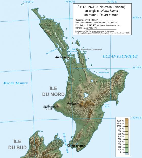 Physische Landkarte Der North Island Neuseeland Weltatlas