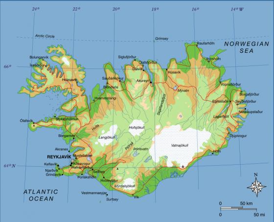 island landkarte Physische Landkarte von Island (Englisch) | Weltatlas island landkarte