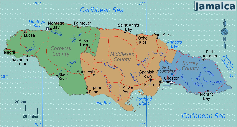 jamaika landkarte regionen jamaika | Weltatlas jamaika landkarte