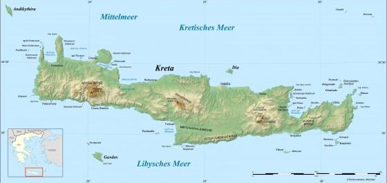 Karte Griechenland Deutsch.Physische Landkarte Von Kreta Griechenland Deutsch
