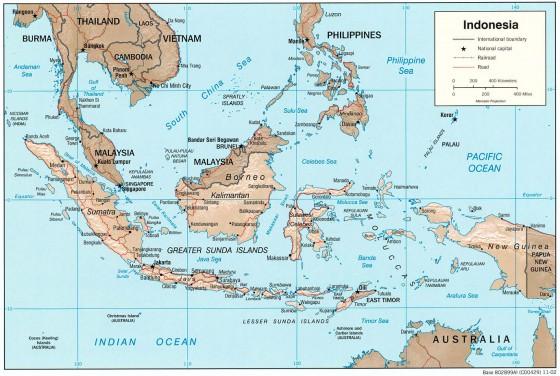 Indonesien Karte Physisch.Indonesien Weltatlas