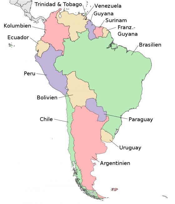 Physische Karte Lateinamerika.Politische Landkarte Von Sudamerika Deutsch Weltatlas
