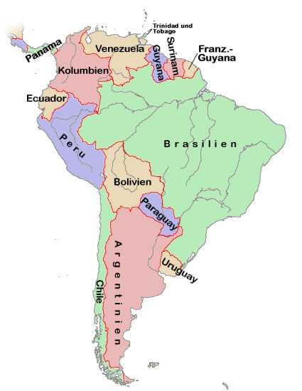 Physische Karte Lateinamerika.Sudamerika Weltatlas