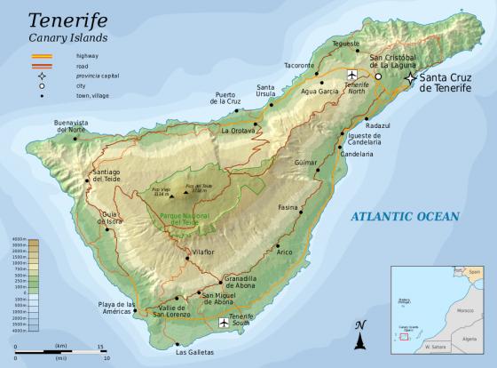 Kanaren Inseln Karte.Physische Landkarte Von Teneriffa Kanarische Inseln