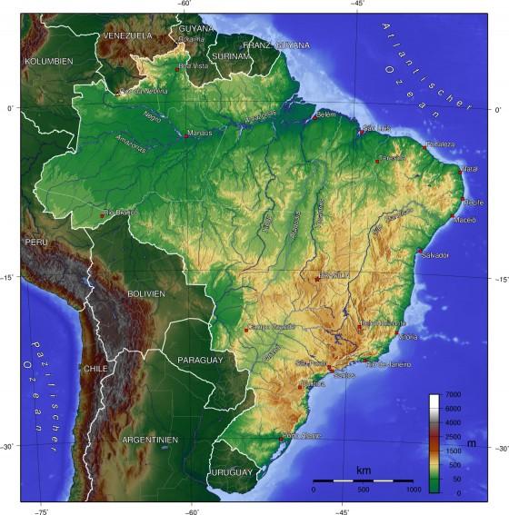 physische karte brasilien Physische Landkarte von Brasilien (Deutsch) | Weltatlas