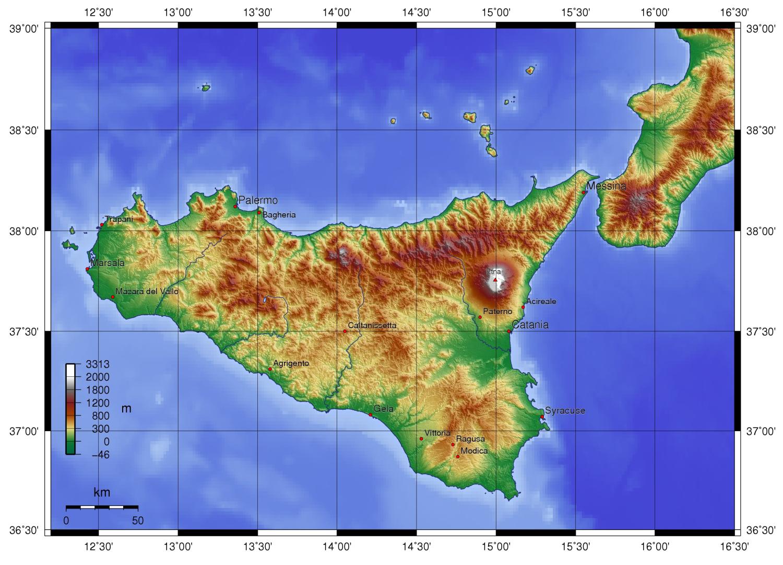 landkarte sizilien Physische Landkarte von Sizilien (Italien) | Weltatlas landkarte sizilien