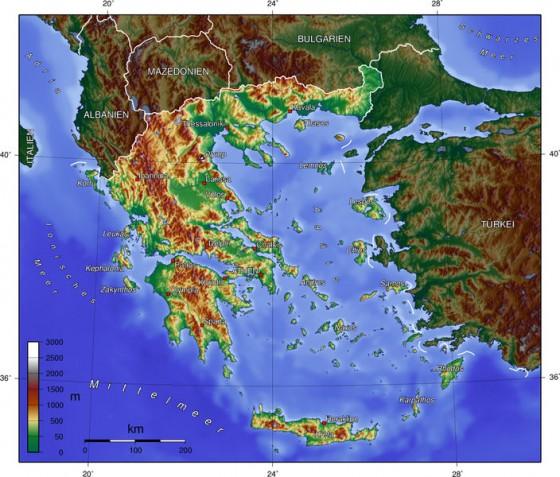 Landkarte Deutsch.Physische Landkarte Von Griechenland Deutsch Weltatlas