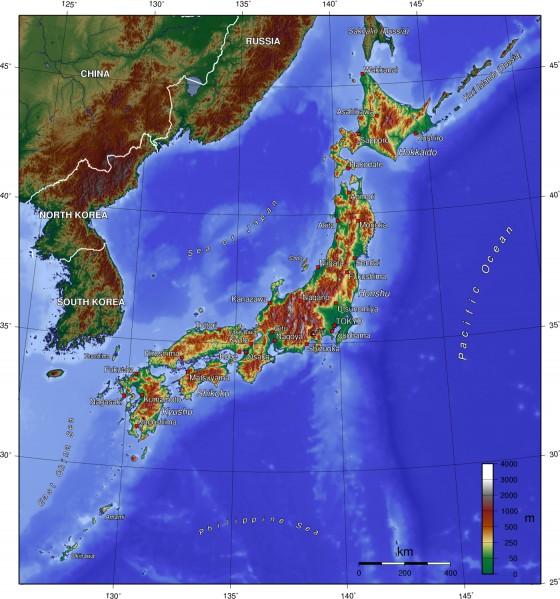 Japan Karte Physisch.Physische Landkarte Von Japan Englisch Weltatlas