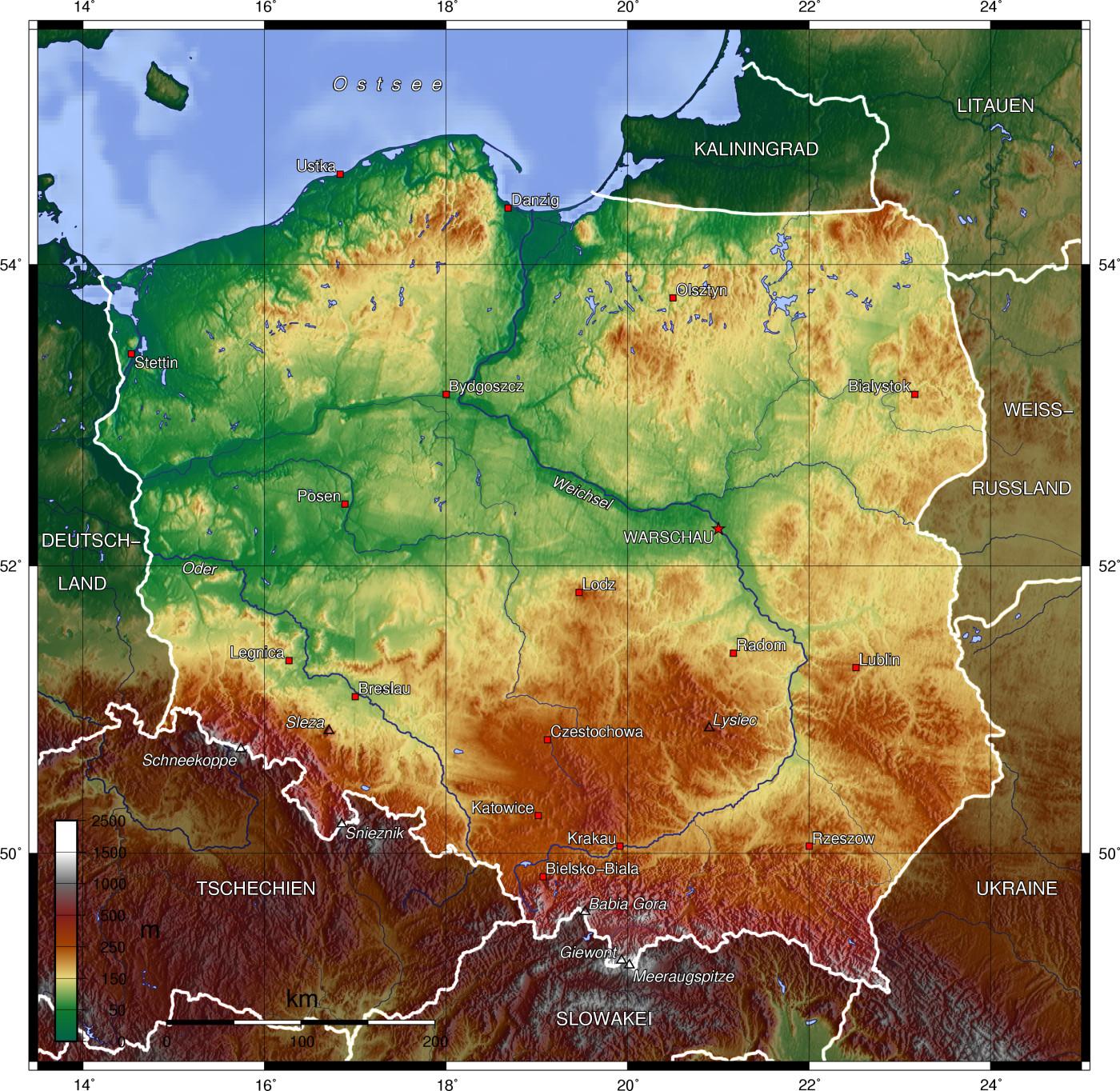 Landkarte Deutsch.Physische Landkarte Von Polen Deutsch Weltatlas