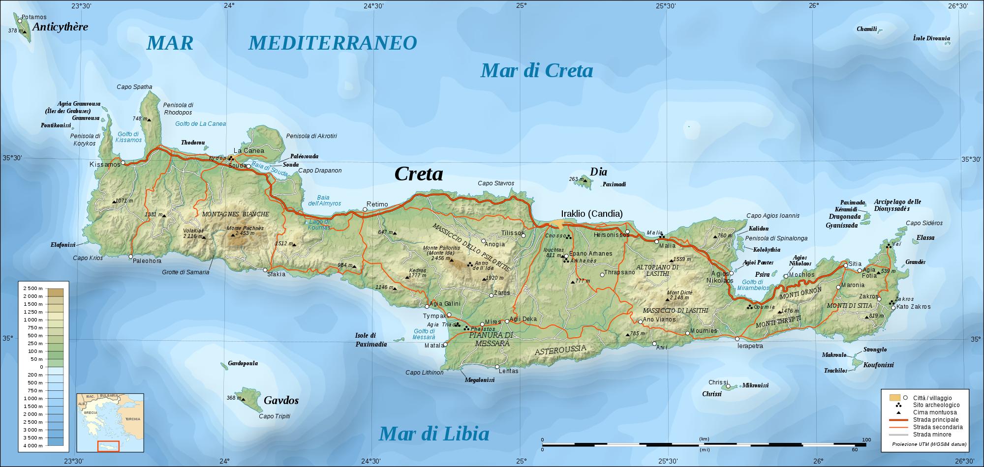 landkarte von kreta topographische–kreta | Weltatlas landkarte von kreta