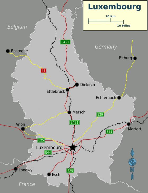 Politische landkarte von luxemburg englisch
