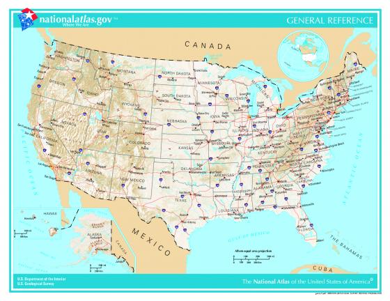Politische Landkarte Der Vereinigten Staaten Von Amerika Weltatlas