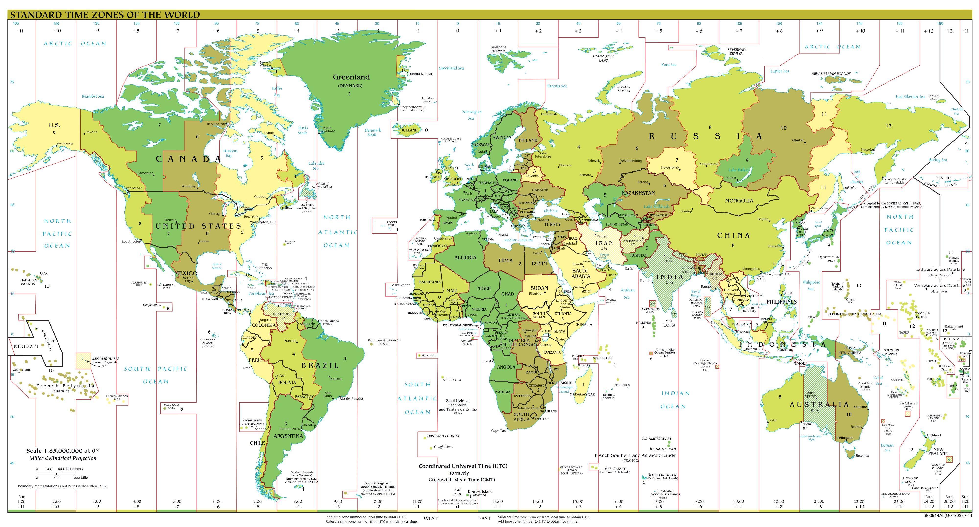 Weltkarten Zeitzonen Weltatlas