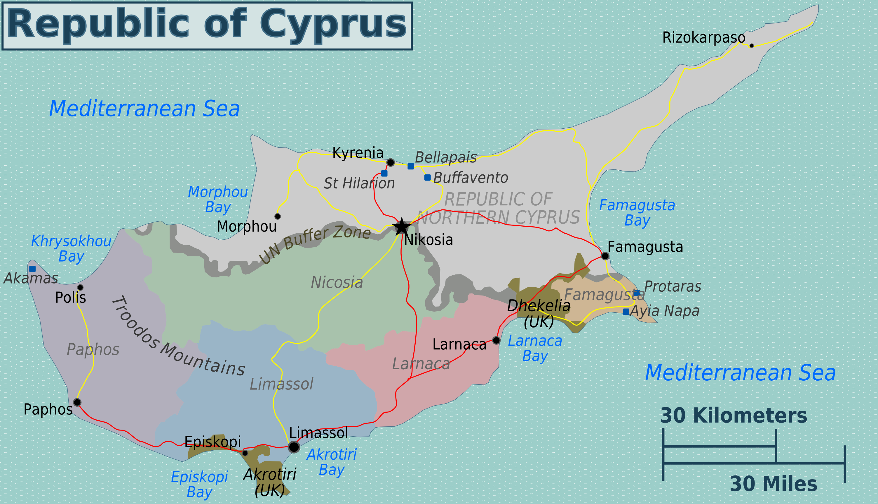 landkarte zypern zypern regionen   Weltatlas landkarte zypern